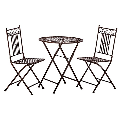 Tisch + 2 Stühle *Paris* Garnitur Gartenmöbel Sitzgarnitur Metall antikbraun - 2 Stück Metall-stuhl