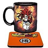 Magie Tassen Dragon Ball Z Farbwechsel Gogeta Kaffeebecher Wärme Reaktiver Becher und Untersetzer DBZ (Final Stage)