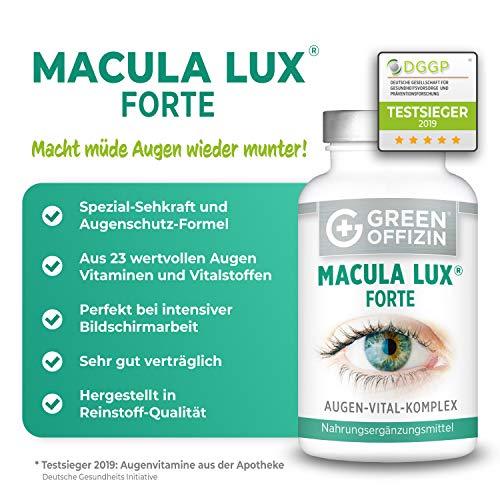 MACULA LUX FORTE Augen-Vitamine Kapseln Hochdosiert – Spezial Sehkraft Augen-Schutz Formel mit Lutein, Zeaxanthin, Lycopin, Vitamin A, C, B, Zink, Selen, DHA + Nährstoffe (120