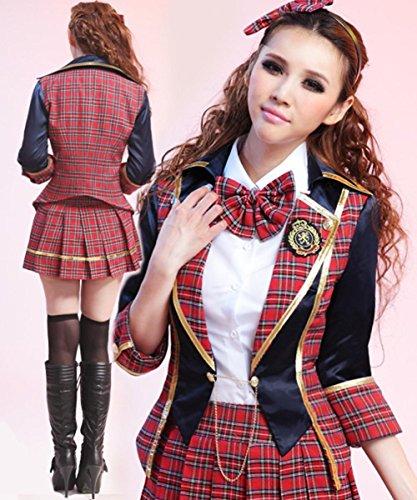 LIUYU England Rot Und Blau Kariert Sexy Süße Japan Frischen Studenten ,rot (Japan National Kostüm Für Frauen)