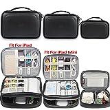 BUBM Mehrfachfunktion Kabelorganiser Tasche Reisetasche mit Doppelschichten für Elektronische Zubehöre wie Netzteil, Maus und USB Stricks (3pcs, Schwarz-PU)