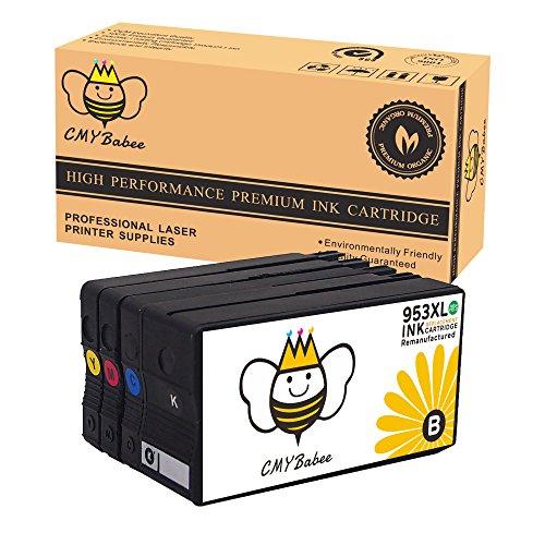 CMYBabee 4-Pack Remanufactured Ersatz für HP 953XL 953 XL (1 Schwarz/1 Blau/1 Rot/1 Gelb) Hohe Ausbeute Arbeiten mit HP OfficeJet Pro 7740 8210 8710 8720 8725 8728 8730 8740 Drucker (Arbeit Die Der Handschuh Qualität)