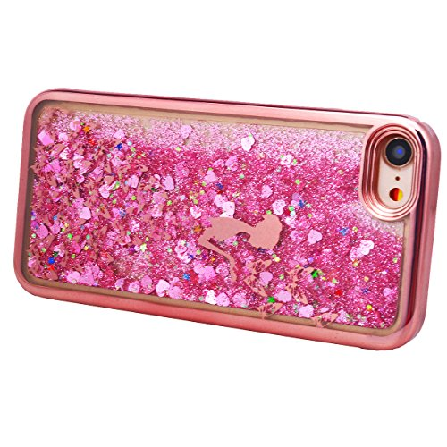 Yokata iPhone 7 Hülle Liquid Transparent Weich Silikon Gel Crystal Clear TPU Case Glitzer Handyhülle Bling Schutzhülle Treibsand 3D Etui Durchsichtig Ultra Dünn Slim Backcover Galvanik Rahmen Bumper P Rose Gold
