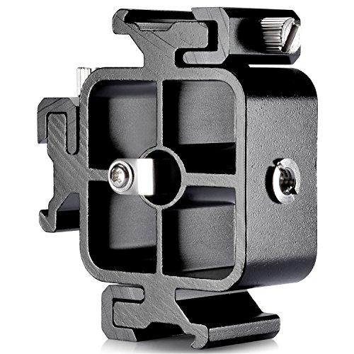 Neewer Ganzmetall Drei Blitzschuh Adapter Hot Shoe Mount Adapter für Blitzhalter Bracket Canon Blitz