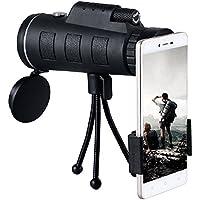 40X60 Telescope Monoculaire, HD Monoculaire Puissant avec Clip Téléphonique, Anti-buée étanche Antichoc BAK-4 FMC pour la Chasse/l'observation des Oiseaux/Voyages / Camping
