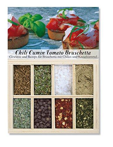 Chili Cumin Tomato Bruschetta - 8 Gewürze für Bruschetta mit Chilies und Kreuzkümmel (56g) - in einem schönen Holzkästchen - mit Rezept und Einkaufsliste - Geschenkidee für Männer und Feinschmecker - von Feuer & Glas