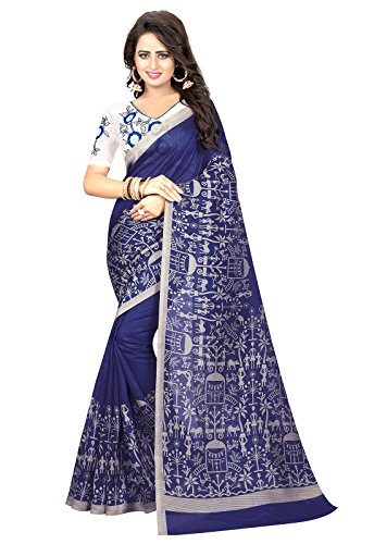 Ishin Mysore Art Silk Navy Blue Madhubani Printed Party Wear Wedding Wear Casual Wear Festive Wear Bollywood New Collection Latest Design Trendy Women\'s Saree/Sari