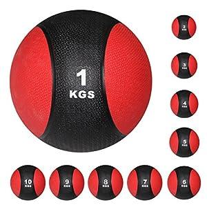 POWRX Medizinball Medizin Gewichtsball 1-10 kg inkl. Workout | Schwarz/Rot