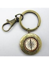 Brújula llavero con camafeo, Mimi llavero, llavero de regalo de diario clave, único llavero personalizado regalo