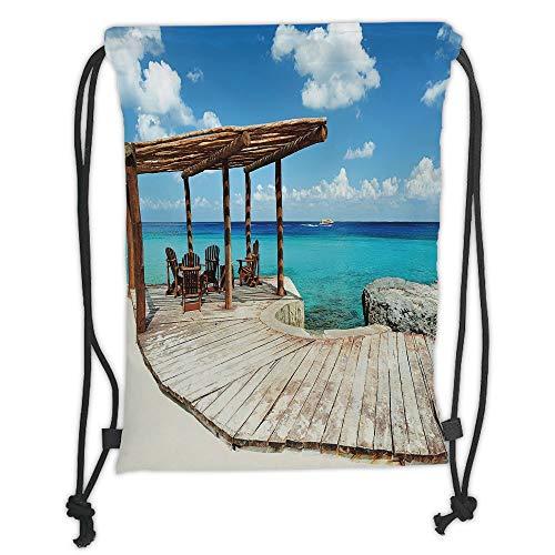 ng Backpacks Bags,Coastal Decor,Wooden Terrace Next to Beach with Vivid Blue Water Veranda Exotic Ocean,Brown Aqua Blue Soft Satin,5 Liter Capacity,Adjustable String Closur ()