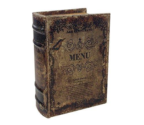 zeitzone Hohles Buch mit Geheimfach MENU Buchversteck Antik-Stil 15x10cm