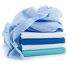 Mussola in cotone neonato | 5 pezzi | 70 x 70 cm | Qualità superiore - blu, tessuto doppio,bordi rinforzati, Öko-Tex Standard 100, lavabili a 60° C