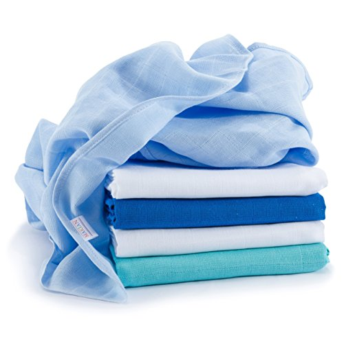 Lange bébé en mousseline de coton | Lot de 5 | 70 x 70 cm | Qualité supérieure - Couleur bleu, double tissage, bordure renforcée, certifié Öko-Tex Standard 100, lavable à 60° C