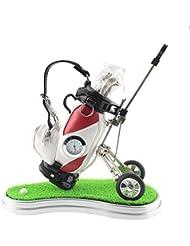 Miniatur-Stifthalter von Crestgolf - Motiv: Golftasche  mit Rasen und Uhr plus 3 Stiften in Golfschlägerform