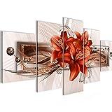 Bilder Blumen Lilien Wandbild 100 x 50 cm Vlies - Leinwand Bild XXL Format Wandbilder Wohnzimmer Wohnung Deko Kunstdrucke Rot 5 Teilig - Made IN Germany - Fertig zum Aufhängen 008752b