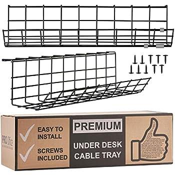 Chemin de c/âbles Cover /& End cap 3 Pack of 120cm Long Under Desk Basket Cable Tray Galvanized Steel Mesh Cord Management Rack w// Mounting Bracket