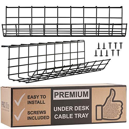 Scandinavian Hub Kabelkanal für die Schreibtisch-Unterseite - Computer Kabel-Aufbewahrung zum einfachen Kabel-Management. Kabelkorb aus Metall für Zuhause und Büro (Schwarz - 2er Set 43cm)