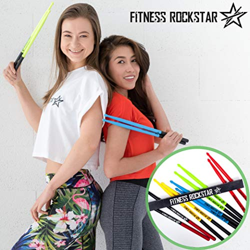 High-Grade Plastic FITNESS ROCKSTAR Drumsticks for Fitness, Aerobic Classes, Workouts and Exercises, ANTI-SLIP Handles, Green Pair