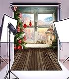 YongFoto 1x1,5m Foto Hintergrund Weihnachten Vinyl Weihnachtsbaumschmuck Fensteransicht Holzboden Fotografie Hintergrund Foto Leinwand Kinder Fotostudio 100x150cm