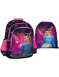 """ViolettaSac à dos d'écolier + sac de gym, qualité Premium, motif: """"Music, Love + Passion"""", sac à dos pour l'école, les loisirs et le sport"""