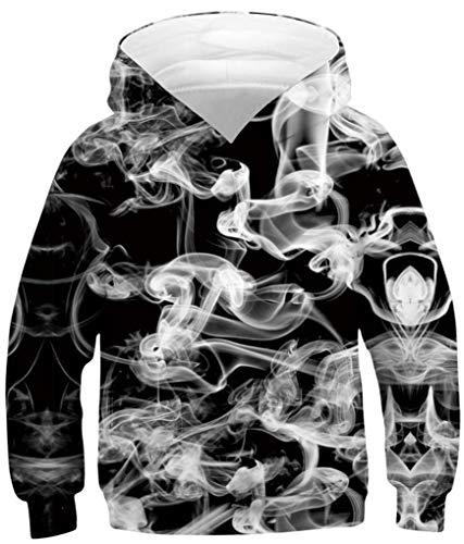 Ocean Plus Jungen Kapuzenpullover Bunt Teens Hoodie Kinder Langarm Pulli mit Kapuzen Sweatshirt Pullover (M (Körpergröße: 135-140cm), Weißer Rauch auf Schwarz)