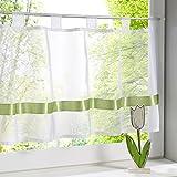 HongYa Transparenter Voile Scheibengardine Satinband Bistrogardine Küchen Vorhang mit Schlaufen H/B 45/90 cm Grün