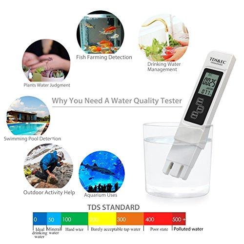 & Proster Misuratore Digitale EC e TDS 0-9990 PPM – TDS Tester Qualità Acqua Tester Temperatura Acqua – LCD Tester di Qualità dell'Acqua per Filtro e Depuratori dell'Acqua / Acqua Potabile / Bevande / Piscine / Spa / Acquario / Idroponica con Custodia in Cuoio confronta il prezzo