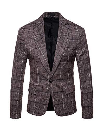 Giacca blazer a quadri uomo classica one button elegante cappotto vestito di affari caffè s