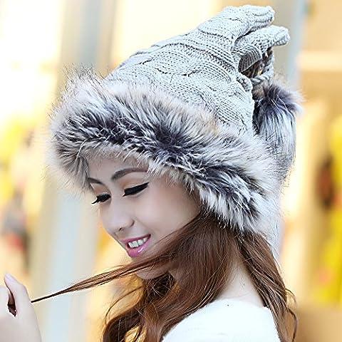 Dngy*Ms. Inverno cappello spessore delizioso caldo inverno maglione Knit Hat elegante pelliccia di coniglio cappelli di erba , m grigio