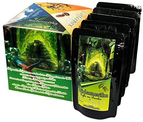 """Länder Kaffee Geschenk Set """" Südamerika """" , Kaffeebohnen frisch geröstet 5 x 65 g in einer hochwertigen Geschenkbox gemahlen oder als Bohne"""
