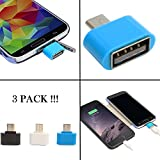 RiaTech® 3 PACK Cute Little OTG Adapter Micro USB OTG to USB 2.0 Adapter for Smartphones & Tablets- Mix Colour{Wholesale Cute Micro OTG}