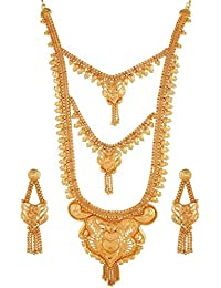 Variation Designer Gold Plated Long Bridal Necklace Set With Earrings - VD17199