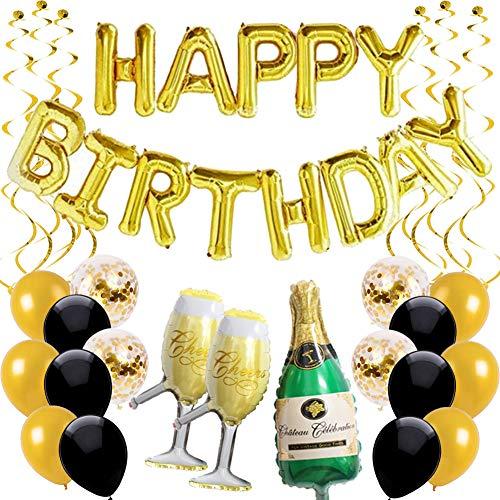 Ohighing Happy Birthday Ballon Gold Schwarz Girlande Geburtstagsdeko Herren Damen Folienballons Gold Konfetti Luftballons Spiralen Geburtstag Deko Set - Yoyo Ballon