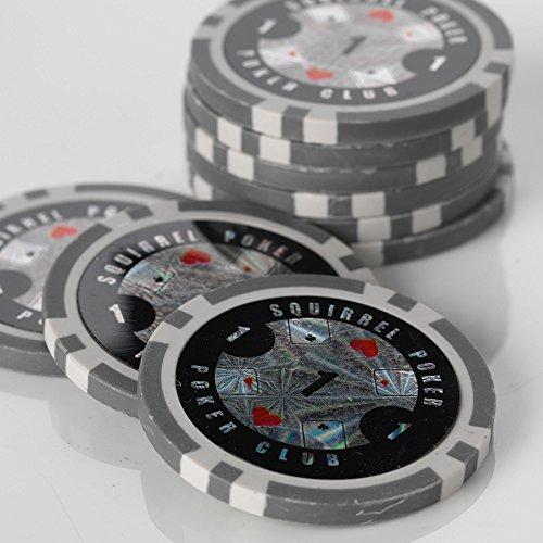 Squirrel Poker 15G Poker Chips - Design Poker Club 15G Poker Chips Colour   Grey  Value    1