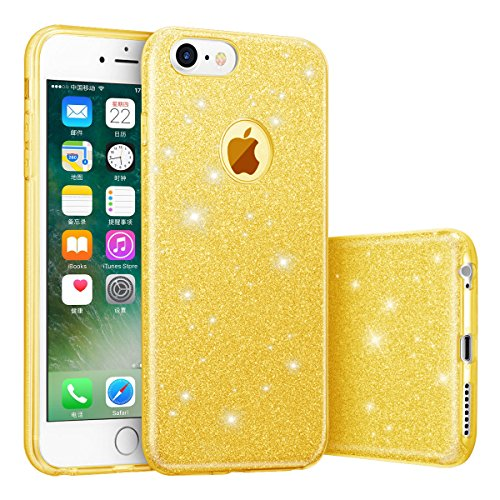 "iphone 7 Case, hanlesi lucida copertura [bling chiarissimo] [slim fit] 3 strato ibrido con brio premio trasparente tpu custodia per apple iphone 7 (4.7"") Rose doro"