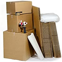 M9 Packaging Ltd - 3 Scatoloni per trasloco, 43 scatole, nastro adesivo, penna, tessuto e film bolle d'aria