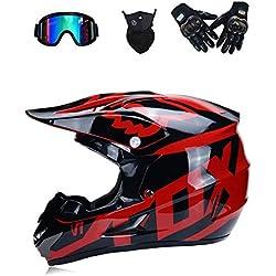 WenYan Motocross Casque Moto Casque Scooter ATV Casque VTT Race D. O. T certifié Fox avec Gants Masque Coupe-Vent Lunettes (S, M, L, XL),S(52~53cm)