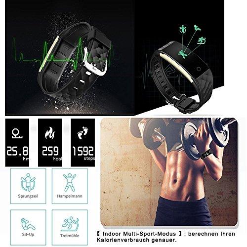 ROGUCI 0.96 Zoll OLED Bluetooth intelligenter Verfolger/Tracker, IP67 Wasserdichtes Tragbares Armband Wristband, Fitness Tätigkeits-intelligente Spurhaltung Armbinde mit Puls-Monitor, mehrfacher Bewegungs-Modus Fahrrad-Reiten , kompatibel mit androiden Smartphones 4.3 IOS iphones 7.0 BT 4.0 - 2