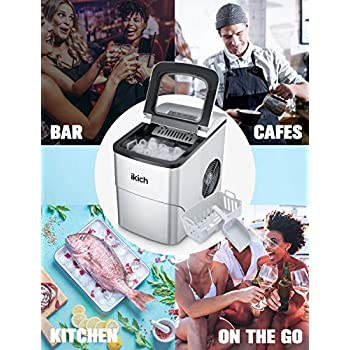 IKICH Ice Maker Machine Counter Top Home, Ice Cubes Ready in 6 Mins, Make 26 lbs Ice in 24 Hrs, LED Display Perfect for Parties Mixed Drinks, Electric Ice Maker 2L with Ice Scoop and Basket