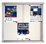 Franken SK6106 Schiebeglasvitrine Schreibtafel magnethaftend (6 DIN A4-Blätter, 73 x 68 x 4,6 cm) lackiert