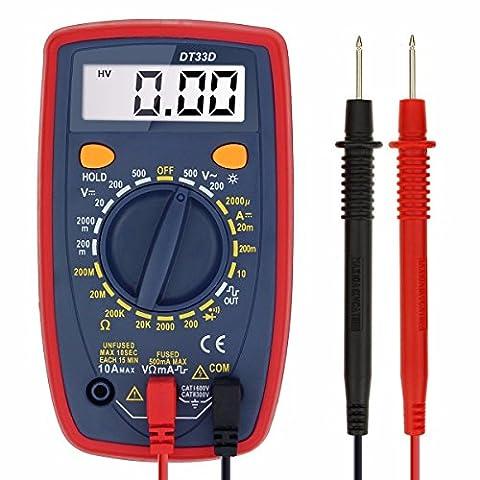 Multimètre Numérique Portable, GOCHANGE Détecteur de Tension Courant Voltage AC/ DC, Ampèremètre Voltmètre Ohmmètre avec Ecran LCD