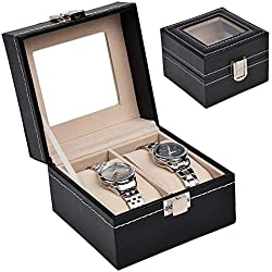 Discountoase Watch Display Case / Box for 2 Watches Leather Look with Real Glass Display Window