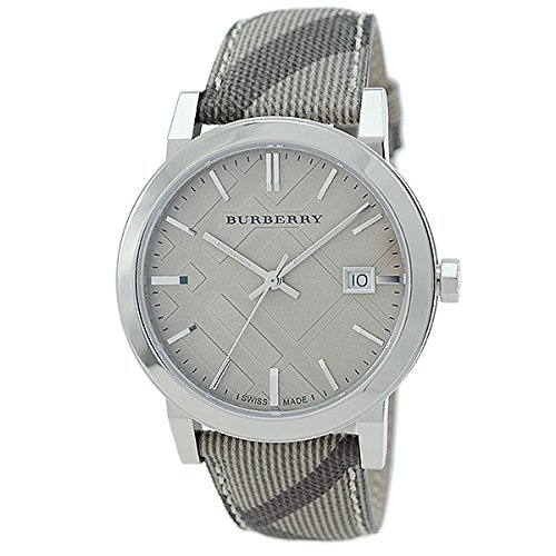 Burberry LUXURY Swiss Watch Unisex Womens Men The City Collection Smoke Check Authentic Leather Sunray Date Dial BU9029