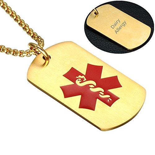 (LF Free Gravur Gold Edelstahl Medical Alert Allergie Bewusstsein Identifikation Halskette Blank Typenschild Militär Dog Tag Anhänger, Notfall SOS Life Saver für Kinder,Sohn,Tochter,Opa,Oma)