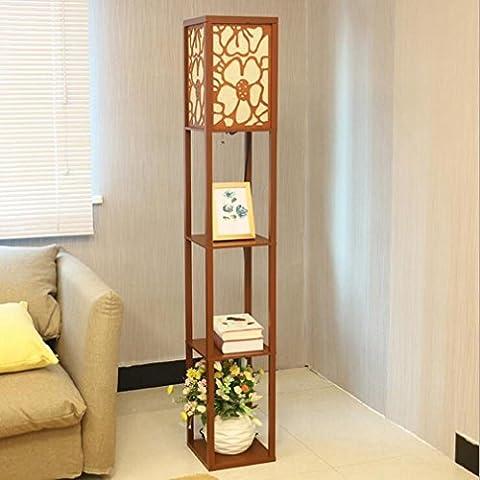 Style chinois moderne simple créatif en bois naturel LED lampe de plancher salon chambre à coucher bureau Studio Aisle Hotel Gallery lampe de lecture , walnut