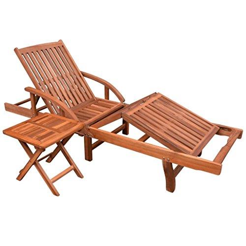 Lingjiushopping Chaise longue et ensemble table de bois d'acacia massif Marron Matériau : bois d'acacia massif avec une finition Huile naturelle Table Dimensions : 40 x 40 x 40 cm (L x l x H)