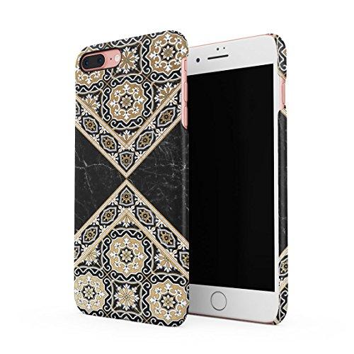 Black & Gold Marble Moroccan Mosaic Dünne Rückschale aus Hartplastik für iPhone 7 Plus & iPhone 8 Plus Handy Hülle Schutzhülle Slim Fit Case Cover