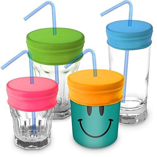 igadgitz Home wiederverwendbar 100% lebensmitteltauglichen BPA-freien weichem Silikon auslaufsicher Reisestrohhalm Deckel für die meisten Trinkbecher & Gläser - 4er Pack (Pink, Gelb, Grün, Blau) (Stroh Kinder-kunststoff-becher Mit)