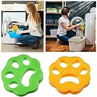 LIUMY-2PCS Poils Animaux Nettoyage Outil, Boule Anti Poil/Boule De Lavage pour Poils d'animaux Domestiques, Poil Machine à Laver(FormePruneJauneetVerte)