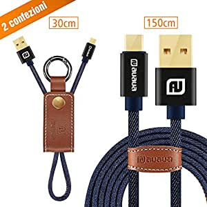 AUAUA® Cavo Micro USB, 2-Pezzi(0.3m*1+1.5m*1) Micro Cavo di Ricarica Duraturo per Dispositivi for Android, Samsung Galaxy, Sony, HTC, Motorola e Altri